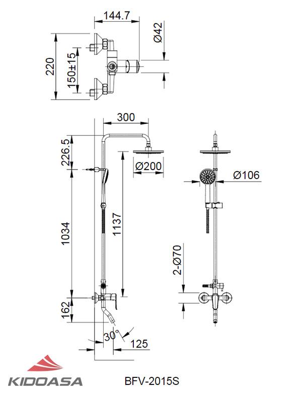 Bản vẽ kỹ thuật sen tắm INAX BFV-2015S