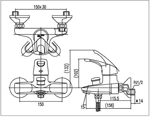 Bản vẽ kỹ thuật sen tắm INAX BFV-203S