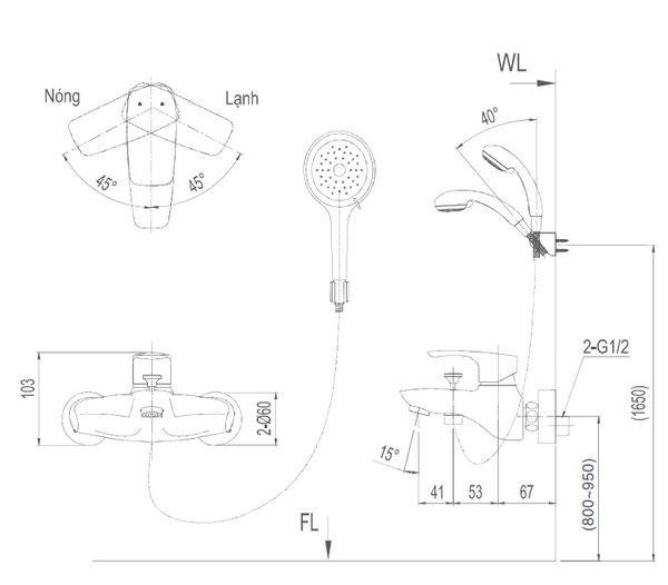Bản vẽ kỹ thuật sen tắm INAX BFV-213S-3C