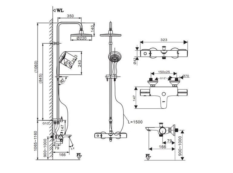 Bản vẽ kỹ thuật sen tắm INAX BFV-3415T