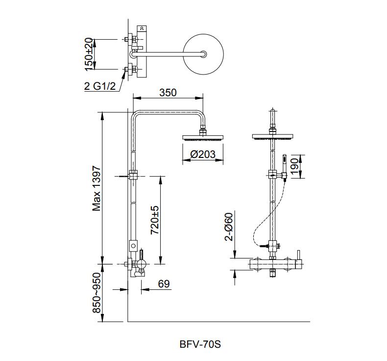Bản vẽ kỹ thuật sen tắm INAX BFV-70S