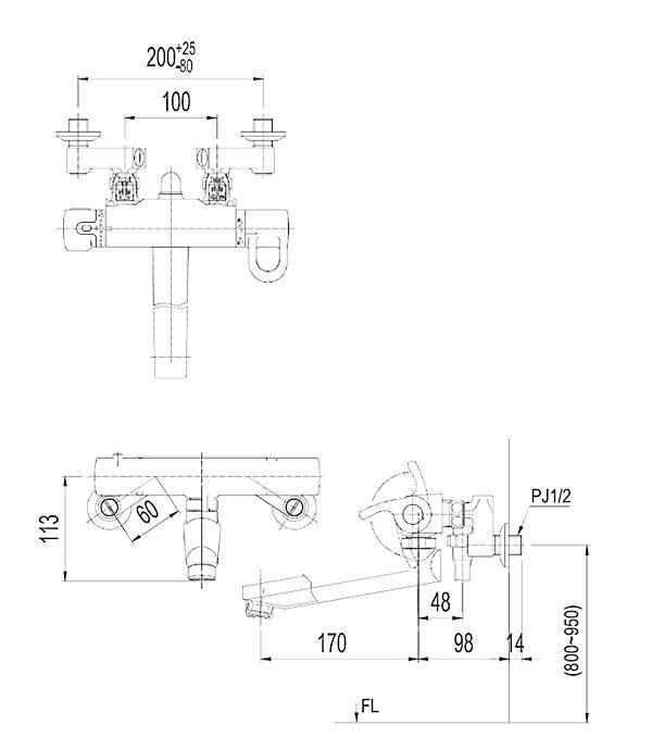 Bản vẽ kỹ thuật sen tắm INAX BFV-8145T