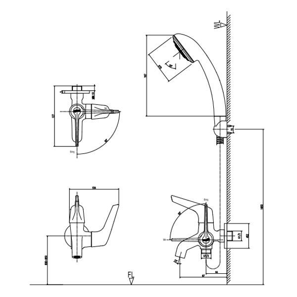 Bản vẽ kỹ thuật sen lạnh INAX BFV-17-4C