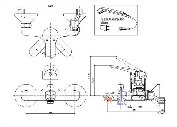 Bản vẽ kỹ thuật sen tắm INAX BFV-903S-1C