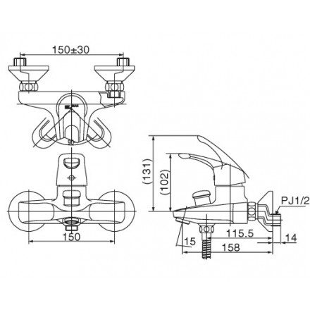 Bản vẽ kỹ thuật sen tắm INAX BFV-103S