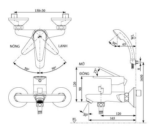 Bản vẽ kỹ thuật sen tắm INAX BFV-1103S-4C