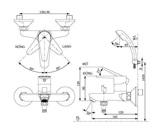 Bản vẽ kỹ thuật sen tắm INAX BFV-1103S