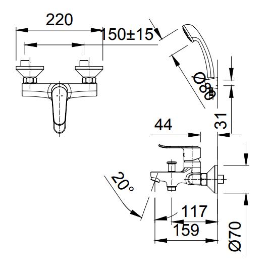 Bản vẽ kỹ thuật sen tắm INAX BFV-2013S