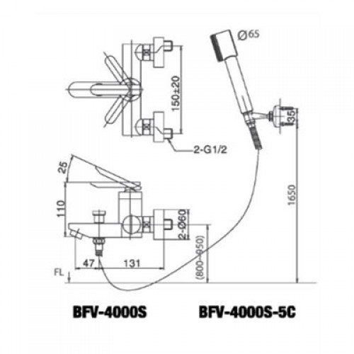 Bản vẽ kỹ thuật sen tắm INAX BFV-4000S-5C