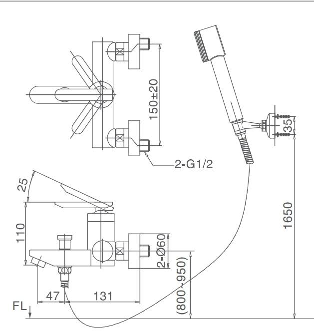 Bản vẽ kỹ thuật sen tắm INAX BFV-4000S