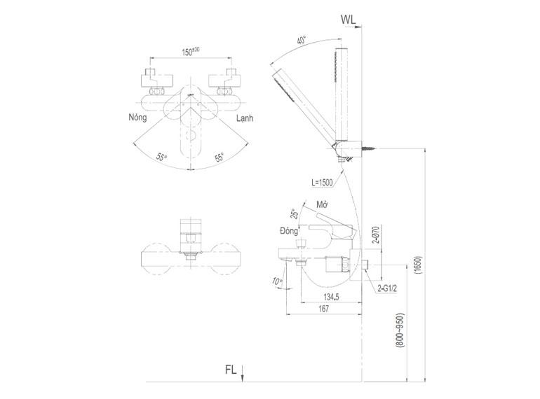 Bản vẽ kỹ thuật sen tắm INAX BFV-6003S