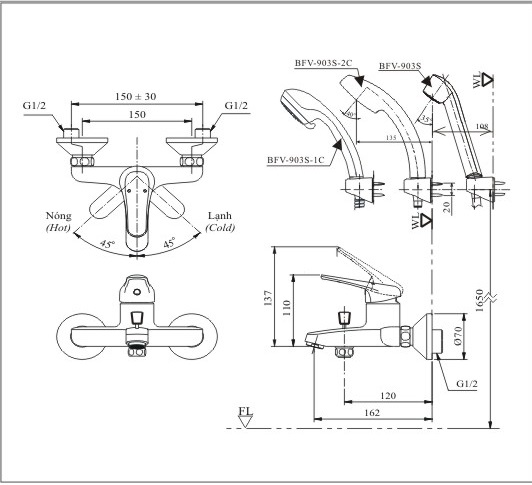 Bản vẽ kỹ thuật sen tắm INAX BFV-903S-2C