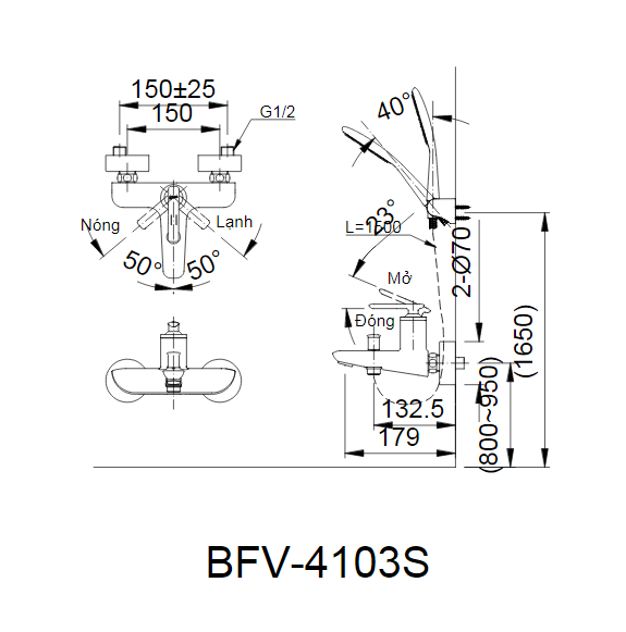 Bản vẽ kỹ thuật sen tắm INAX BFV-4103S