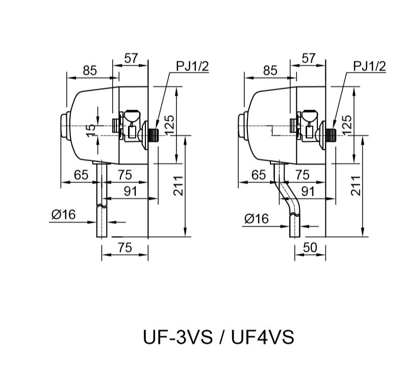 Bản vẽ kỹ thuật van xả bồn tiểu Inax UF-4VS