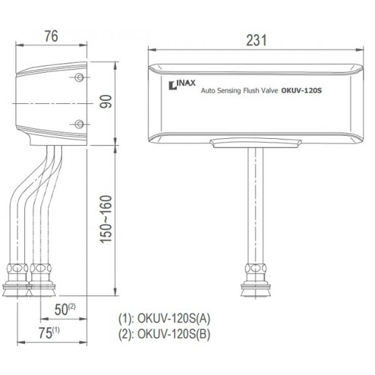 Bản vẽ kỹ thuật van xả bồn tiểu Inax OKUV-120S
