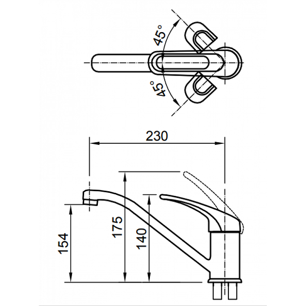 Bản vẽ kỹ thuật vòi bếp Inax nóng lạnh SFV-112S