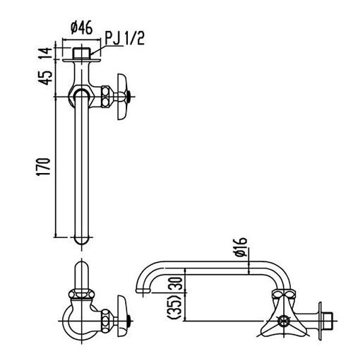 Bản vẽ kỹ thuật vòi bếp Inax lạnh LF-16-13 gắn tường