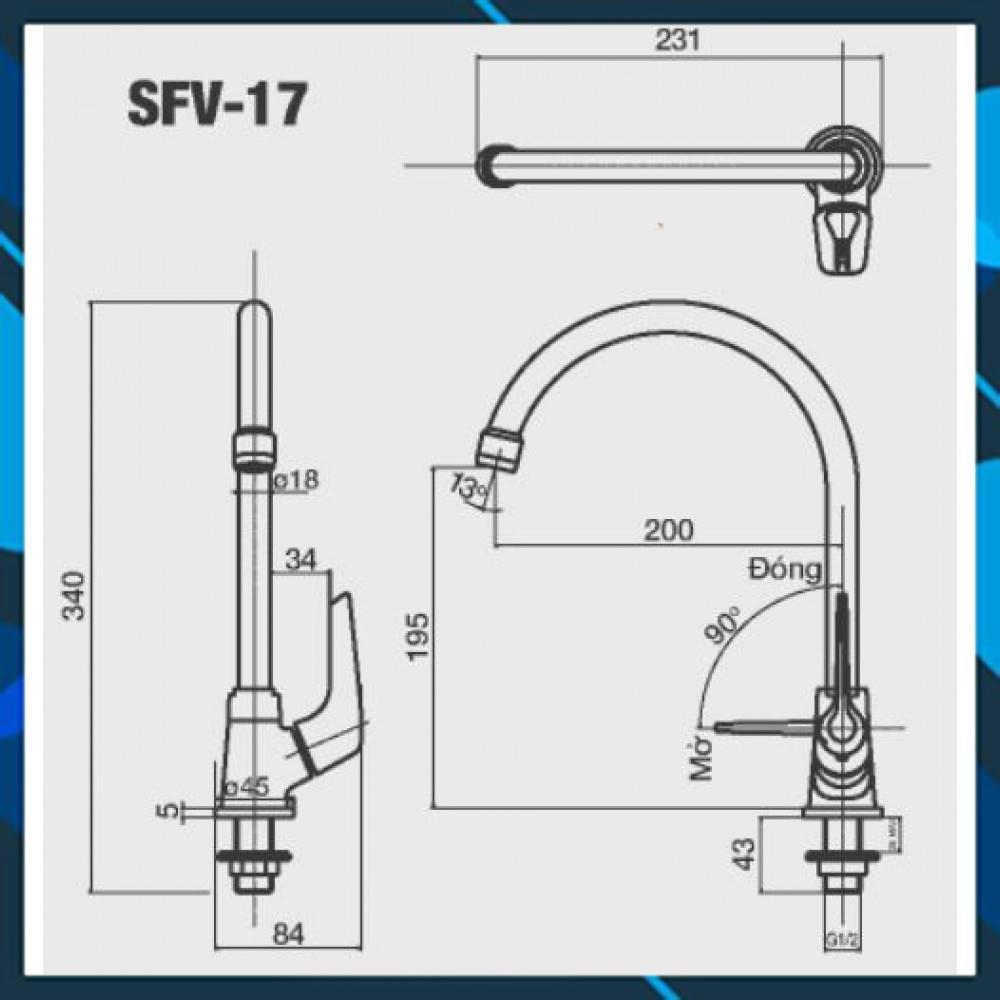 Bản vẽ kỹ thuật vòi bếp Inax lạnh SFV-17