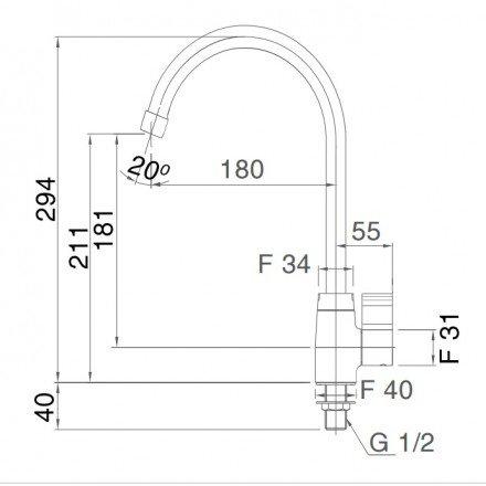 Bản vẽ kỹ thuật vòi bếp Inax lạnh SFV-21