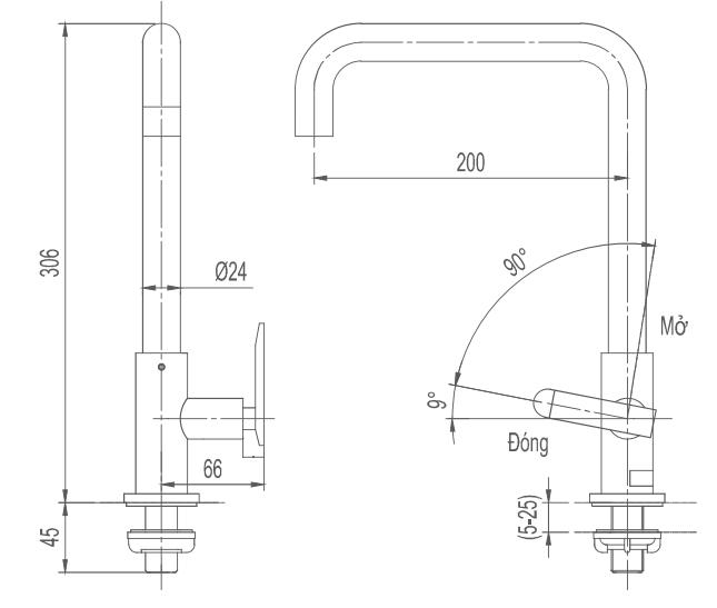 Bản vẽ kỹ thuật vòi bếp Inax lạnh SFV-30S