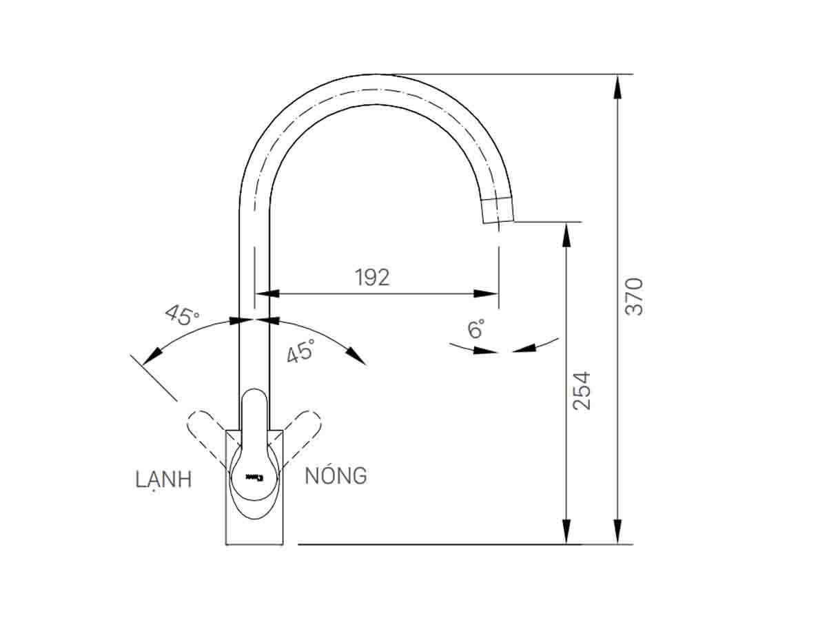 Bản vẽ kỹ thuật vòi bếp Inax nóng lạnh SFV-802S