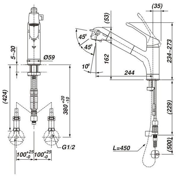 Bản vẽ kỹ thuật vòi bếp Inax nóng lạnh JF-6450SX