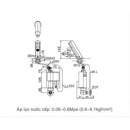 Bản vẽ kỹ thuật vòi chậu cảm ứng nóng lạnh INAX AMV-90K