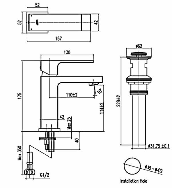 Bản vẽ kỹ thuật vòi chậu lavabo nóng lạnh INAX LFV-402S