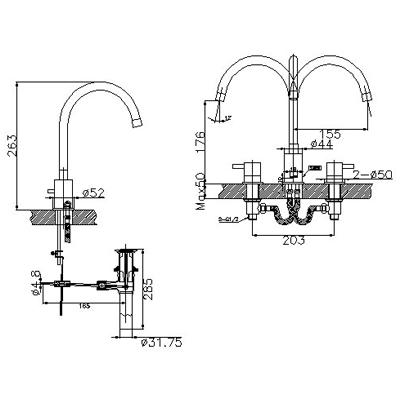 Bản vẽ kỹ thuật vòi chậu lavabo nóng lạnh INAX LFV-7100B