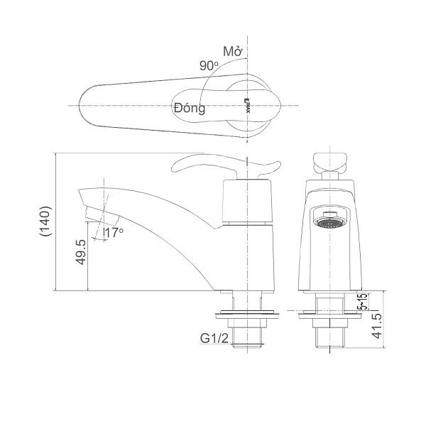Bản vẽ kỹ thuật vòi lavao nước lạnh INAX LFV-11A