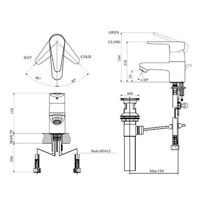 Bản vẽ kỹ thuật vòi chậu lavabo nóng lạnh INAX LFV-112S