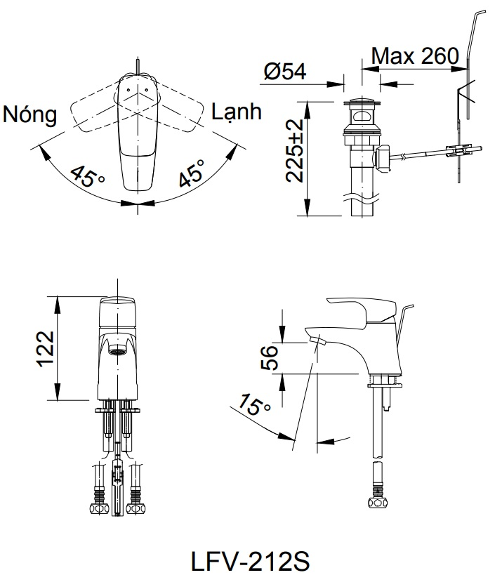 Bản vẽ kỹ thuật sen tắm INAX LFV-212S