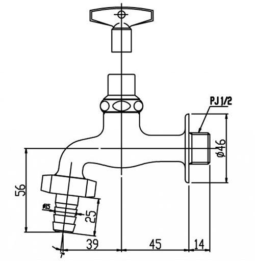 Bản vẽ kỹ thuật vòi nước lạnh INAX LF-15G-13