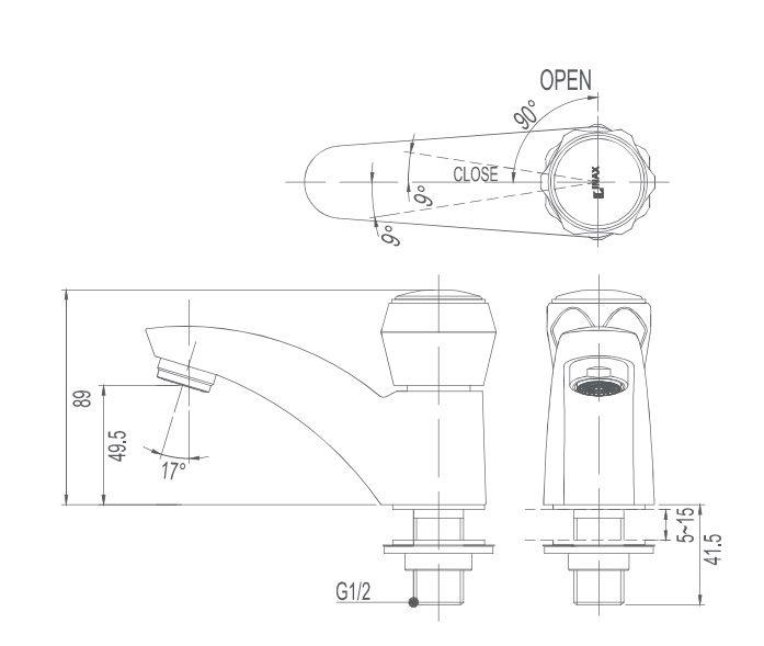 Bản vẽ kỹ thuật vòi lavabo nước lạnh INAX LFV-12A