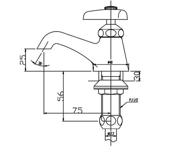 Bản vẽ kỹ thuật vòi lavabo nước lạnh INAX LF-1