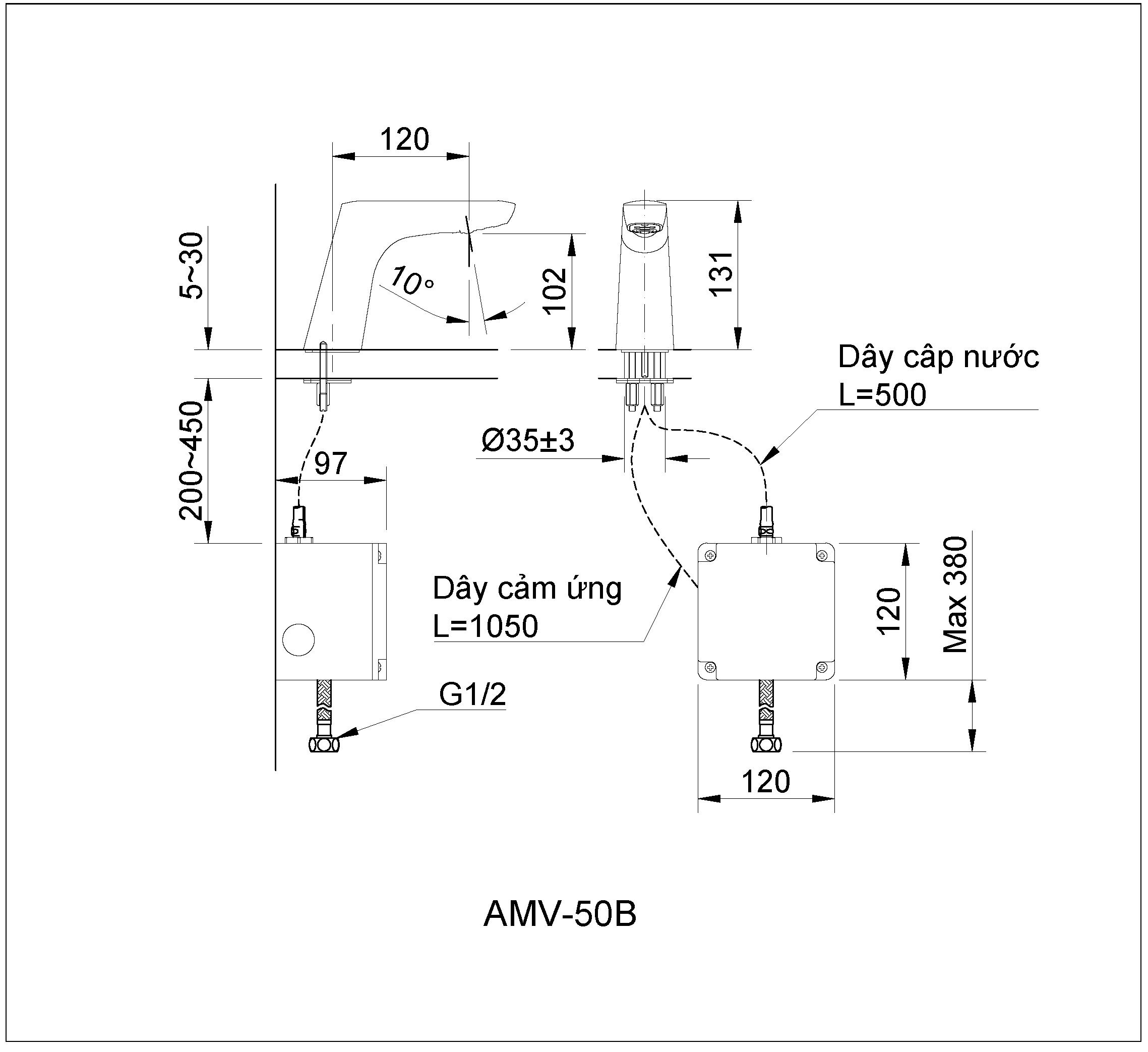 Bản vẽ kỹ thuật vòi chậu cảm ứng INAX AMV-50B