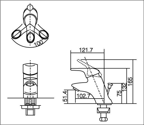 Bản vẽ kỹ thuật vòi chậu lavabo nóng lạnh INAX LFV-102S