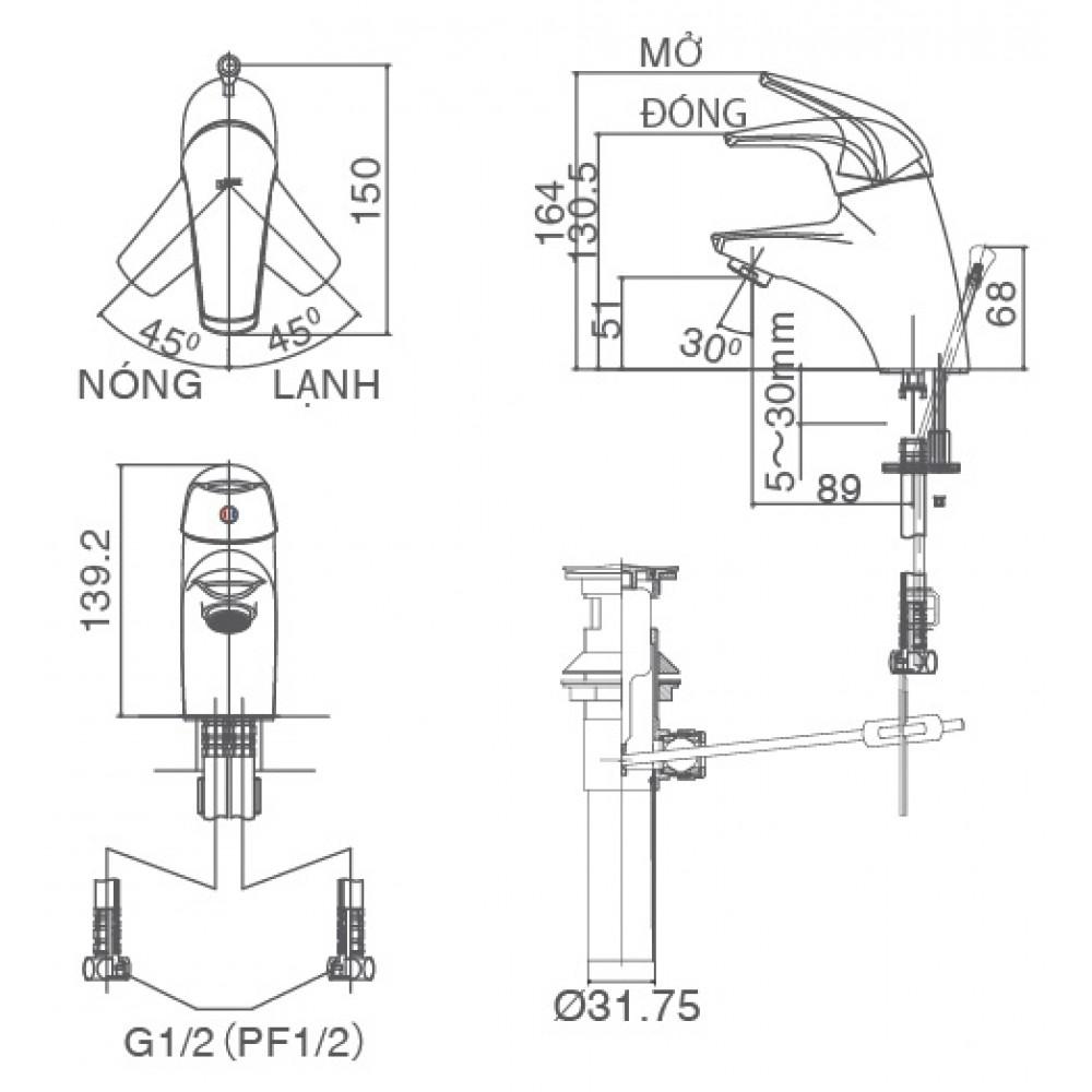 Bản vẽ kỹ thuật vòi chậu lavabo nóng lạnh INAX LFV-3002S