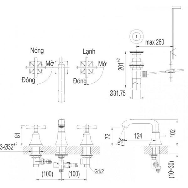 Bản vẽ kỹ thuật vòi chậu lavabo nóng lạnh INAX LFV-8100B