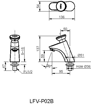 Bản vẽ kỹ thuật vòi chậu lavabo nóng lạnh INAX LFV-P02B