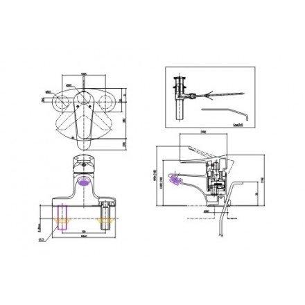 Bản vẽ kỹ thuật sen tắm INAX LFV-1001S