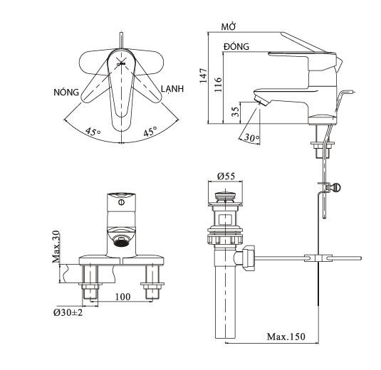 Bản vẽ kỹ thuật vòi chậu lavabo nóng lạnh INAX LFV-1102S-1