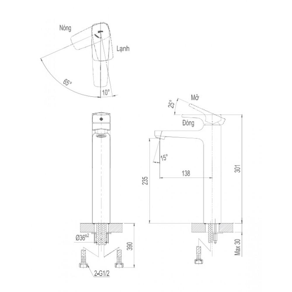 Bản vẽ kỹ thuật vòi chậu lavabo nóng lạnh INAX LFV-112SH