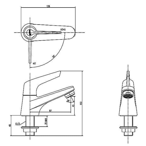 Bản vẽ kỹ thuật vòi lavao nước lạnh INAX LFV-17