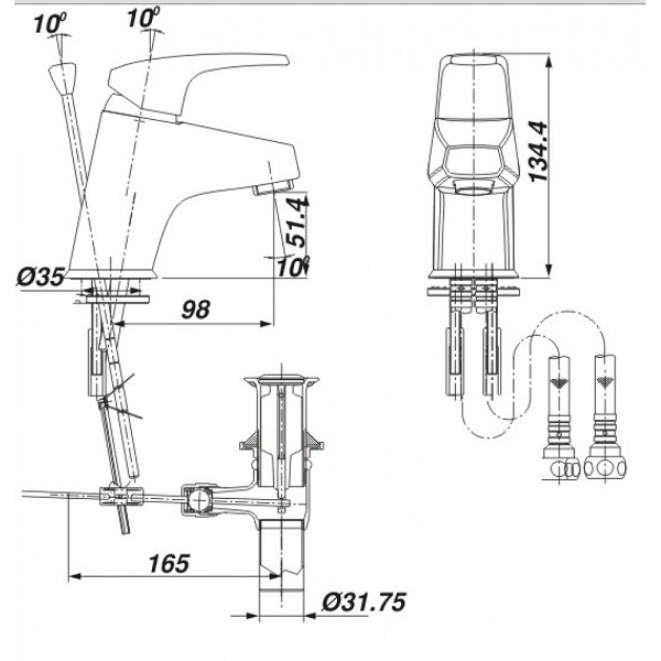 Bản vẽ kỹ thuật vòi chậu lavabo nóng lạnh INAX LFV-282S