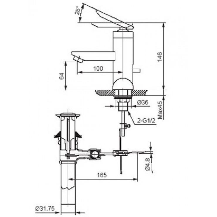 Bản vẽ kỹ thuật vòi chậu lavabo nóng lạnh INAX LFV-4000S