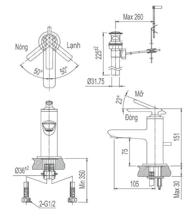 Bản vẽ kỹ thuật vòi chậu lavabo nóng lạnh INAX LFV-4102S