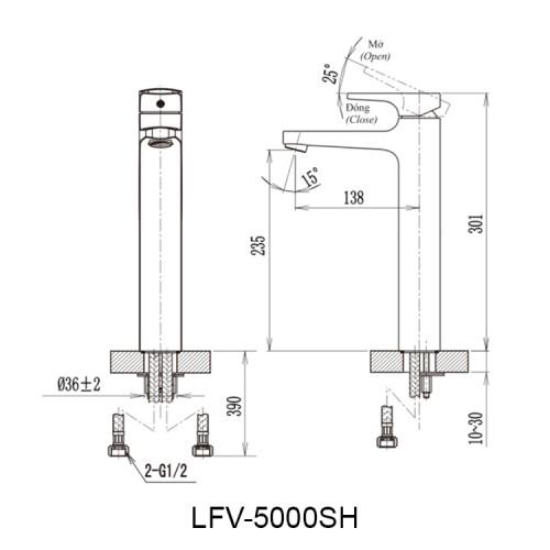 Bản vẽ kỹ thuật vòi chậu lavabo nóng lạnh INAX LFV-5000SH