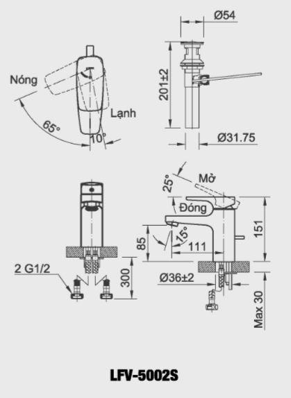 Bản vẽ kỹ thuật vòi chậu lavabo nóng lạnh INAX LFV-5002S