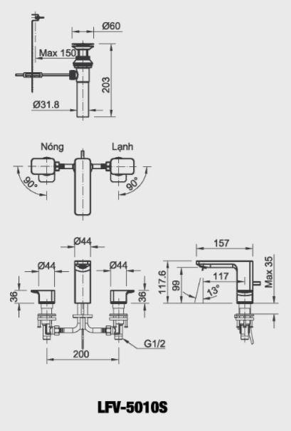 Bản vẽ kỹ thuật vòi chậu lavabo nóng lạnh INAX LFV-5010S
